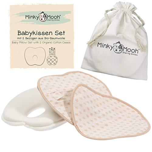 Babykissen gegen Plattkopf aus BIO-BAUMWOLLE von Minky Mooh® - Inkl. 2 Bezügen | Ergonomisches...