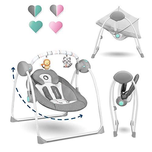 Lionelo Ruben Baby Wippe Babyschaukel Elektrisch mit Liegefunktion Baby Schaukel 0 bis 9 kg...