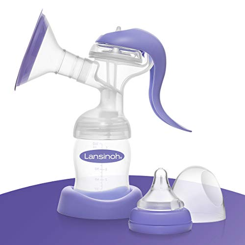 Lansinoh Handmilchpumpe - sanftes und effektives Abpumpen, 50552, Lila / Transparent