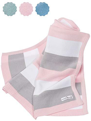 Babydecke aus 100% Bio Baumwolle - kuschelige Strickdecke ideal als Baby Decke, Erstlingsdecke,...