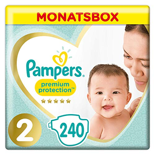 Pampers Premium Protection Windeln, Gr. 2, 4-8kg, Monatsbox (1 x 240 Windeln), Pampers Weichster...