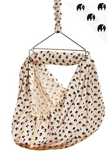 LaLeLu Federwiege | Babyhängematte (100% BIO-Baumwolle - Handmade - bis 15 kg - Elefantenmuster) -...