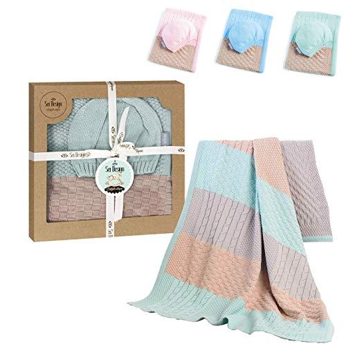 sei Design Baby Decke aus 100% Baumwolle 90 x 70 | kuschelige Strickdecke + Mütze | Ideal als...
